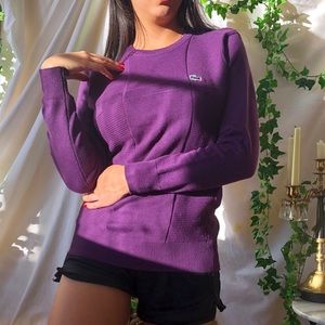 Vintage Purple square print Lacoste dad sweater